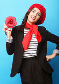 Beautiful girl in a red beret. French style. — Foto Stock