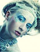 Christmas Winter Fairy woman. — ストック写真