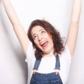 Vinnande framgång kvinna glad extatiska firar att vara en vinnare. — Stockfoto