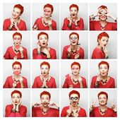 Collage of woman different facial expressions. — ストック写真