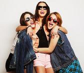 Three stylish sexy hipster girls best friends — Foto de Stock