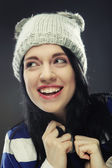 Young woman in funny winter hat — Stock Photo