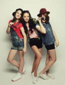 Three stylish sexy hipster girls best friends — Stock Photo