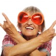 Senior woman wearing big sunglasses — Stock Photo #68800993