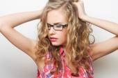 Portrait of young sensual blond woman. — Stock Photo