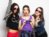 Three stylish sexy hipster girls best friends. — Stock Photo