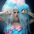 Fashion model with bright make up and colorful hair — Stock Photo #69023411