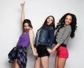 Three stylish sexy hipster girls best friends. — Foto de Stock