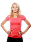 Young blond woman wearing sports clothes — Stock Photo