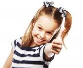 Little girl showing ok — Fotografia Stock