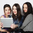 Girls friends taking selfie with digital tablet — Foto de Stock   #69699799