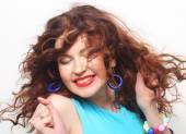 Happy woman with curly hair — Stock Photo
