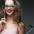 Playful young women holding a party glasses. — Stock Photo #69809301