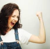 Woman happy ecstatic celebrating being a winner. — Stock Photo