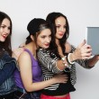 Girls friends taking selfie with digital tablet — Stok fotoğraf #70118095