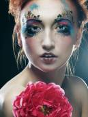 Woman with creative make up — Stock Photo