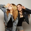 Two young girl hipster friends standing together — Foto de Stock   #70748677