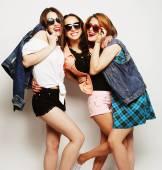 Three stylish sexy hipster girls best friends — Stock Photo