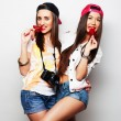 Two young pretty hipster girls — Stock Photo #71370145