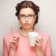 Young businesswoman having a coffee-break — Stock Photo #71800499