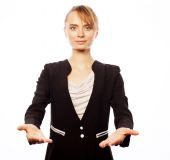 Smiling business woman welcoming — Stock Photo