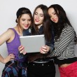 Girls friends taking selfie with digital tablet — Stok fotoğraf #72072421