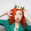 Young lovely woman in crown — Stock Photo #72509539