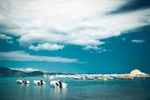 Fishing boats  in the Ionian sea — Stock Photo