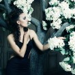 Beautiful queen in black dress posing near tree — Stock Photo #74261479
