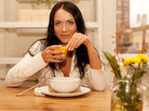 Goog breakfast for young lady — Stock Photo