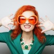 Playful young women holding a party glasses.  — Stock Photo #74939227
