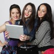 Girls friends taking selfie with digital tablet — Stockfoto #75462637