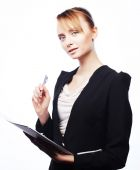 Young business woman with paper — Stock Photo
