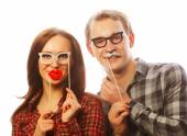 Lovely couple holding party glasses — Stock Photo