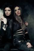 Romantic portrait of young gothic couple — Stock Photo