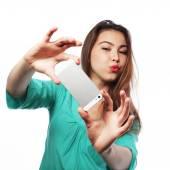 かなり十代の少女の撮影 selfies — ストック写真