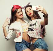 Two young funny women — Stock Photo