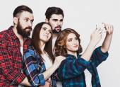 Group of students taking selfie — Stock Photo