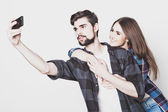 Loving couple making selfie — Stock Photo