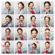 Collage of portraits of  happy woman — Stock Photo #78311732