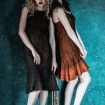 Vogue style photo of two fashion ladies — Stock Photo #78311804