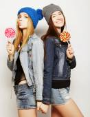 Two young hipster girls best friends — Stock Photo
