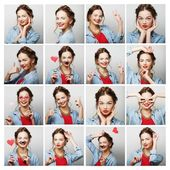 Collage of portraits of  happy woman — Stock Photo