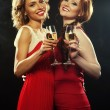Two beautiful young women with wine glasses — Stock Photo #78517640