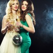 Two beautiful young women with wine glasses — Stock Photo #78517696