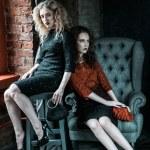 Vogue style photo of two fashion ladies — Stock Photo #78927354