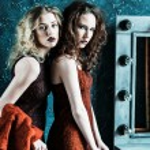 Vogue style photo of two fashion ladies — Stock Photo #81387304