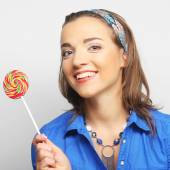 Young girl with lolipop — Stock Photo