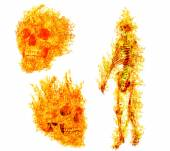 Human skeleton ans  in flame — Stock Photo
