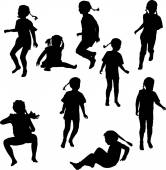 Child silhouettes — Stock Vector
